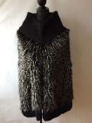 Poncho fausse fourrure col mohair